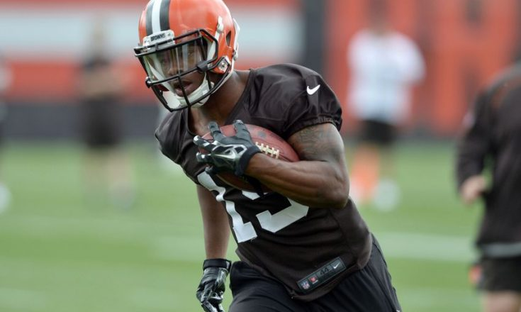 Jun 7, 2016; Berea, OH, USA; Cleveland Browns wide receiver Corey Coleman (19) runs a drill during minicamp at the Cleveland Browns training facility. Mandatory Credit: Ken Blaze-USA TODAY Sports
