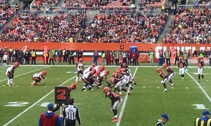 The Cincinnati Bengals offense drives against the Cleveland Browns in a 2015 regular season game.
