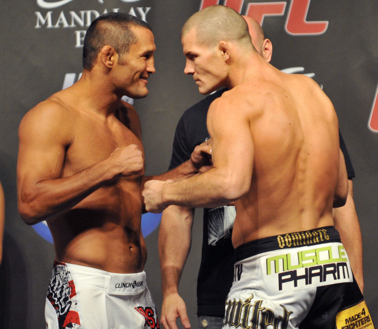 LAS VEGAS - JULY 10:  UFC middleweight fighters Dan Henderson (L) and Mike Bisping square off at UFC 100 Weigh-Ins at the Mandalay Bay Hotel and Casino on July 10, 2009 in Las Vegas, Nevada.  (Photo by Jon Kopaloff/Getty Images)